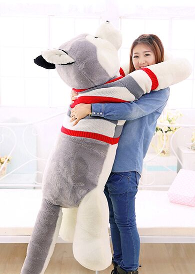 цена на plush husky dog toy swearter dog doll soft hugging pillow,Xmas gift about 170cm 0064