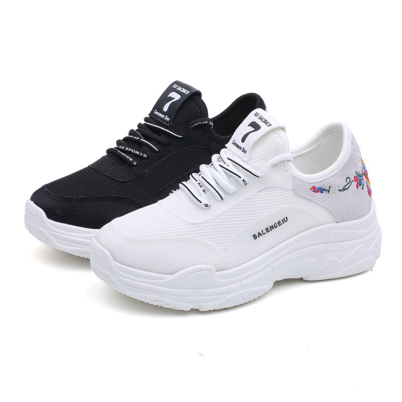 LAISUMK 2019 Sprig Breathable Air Mesh Women Sneakers Shoes Fashion White Black Cotton Fabric Wedges Sneakers Female Shoes in Women 39 s Vulcanize Shoes from Shoes