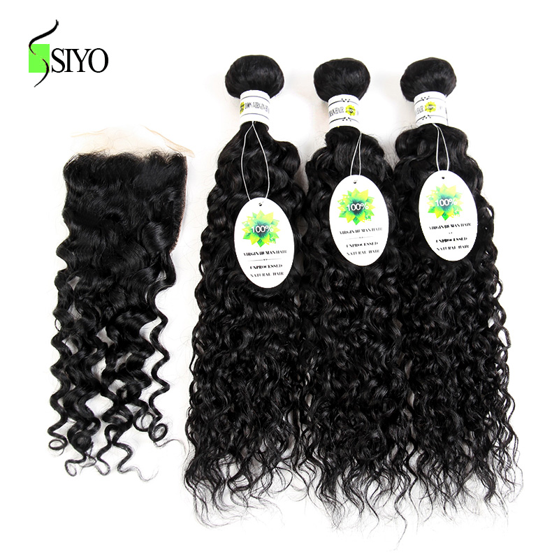 SIYO HAIR Inidan Human Hair 3 Bundles Water Wave With Closure Free Part Non Remy Hair Extension Natural Color Free Shipping