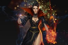 Home decoration fantasy art beautiful sexy magic girl fire ice thigh high balck dress artwork 02 Silk Fabric Poster Print DM373