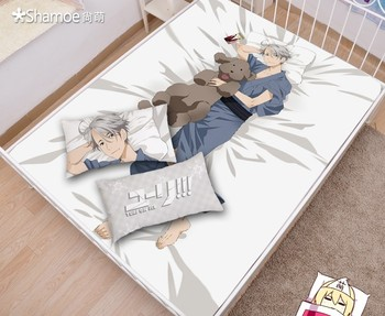 Japanese Anime Cartoon YURI on ICE Mattress Cover Fitted Sheet Fitted cover bedspread counterpane