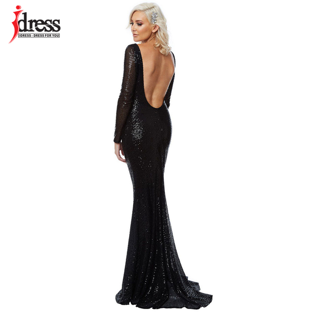 d61b76098a46e IDress Black Grey Sequin Maxi Long Dress Sexy Backless Nightclub Evening  Party Floor Length Full Sleeved Mermaid Maxi Dresses