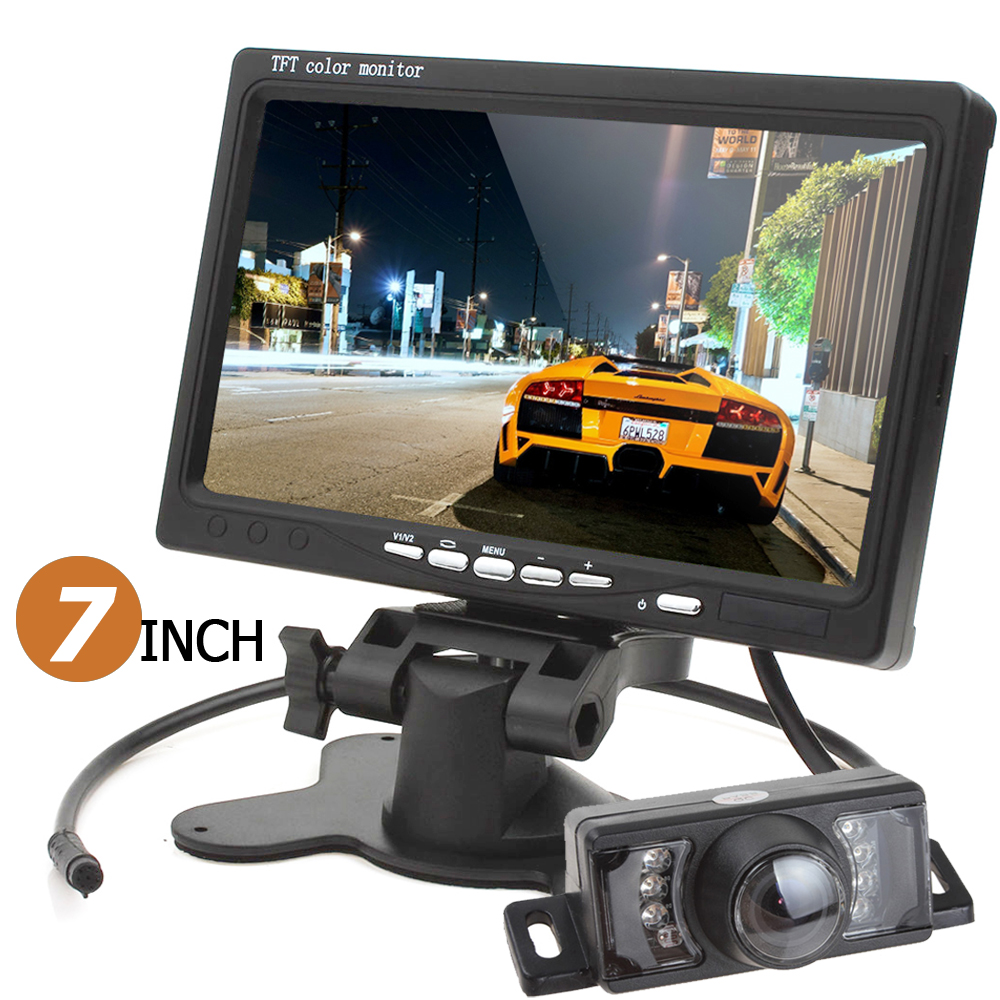 HD 800 x 480 7 Inch Color TFT LCD Car Rear View Monitor Parking HDMI + 7 IR Lights Auto Car Reverse Rearview Camera + Remote 7 inch tft lcd color auto car monitor 2 video input car rear view parking monitor wireless 10 ir car rear view reverse camera