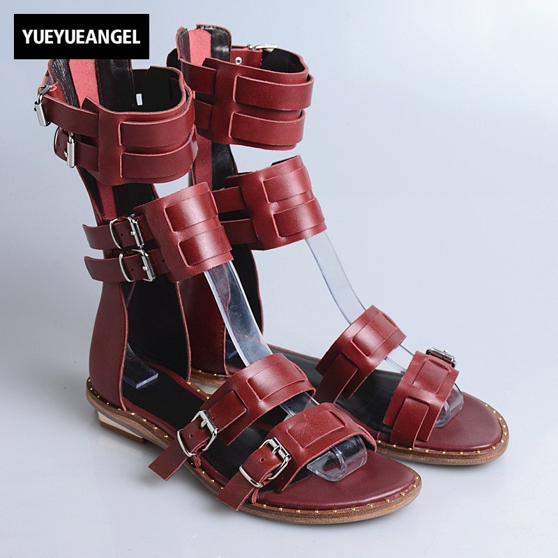 Street Casual Ladies Summer Flat Sandals Shoes Vintage Back Zip High Quality Leather Peep Toe Gladiator Sandals Yellow/Black drkanol women sandals 2018 genuine leather flat gladiator sandals for women summer casual shoes peep toe slip on vintage sandals