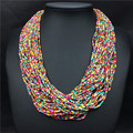 7 Mix color new handmade bohemia fashion multilayers resin seed beads chain choker pendant bib necklace free shipping jewelry