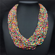 7 Mix color nuevo hechos a mano de bohemia moda multilayers resina rocalla cadena gargantilla colgante collar babero de la joyería envío gratis