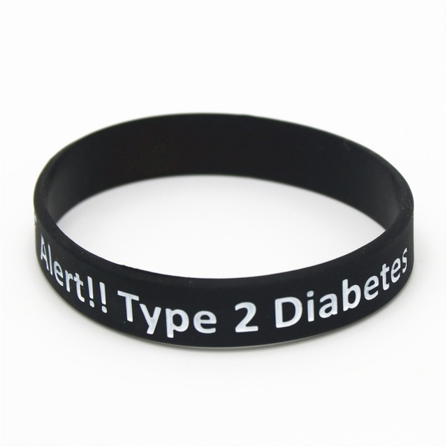 Medical Alert ID Type 2 Diabetes Insulin Dependent Silicone Wristband Bracelets 3