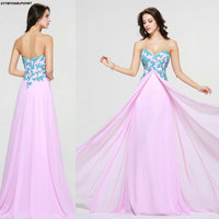 Amazing New Design Sweetheart Pink with Blue Appliques Plue Size Evening Dresses 2018