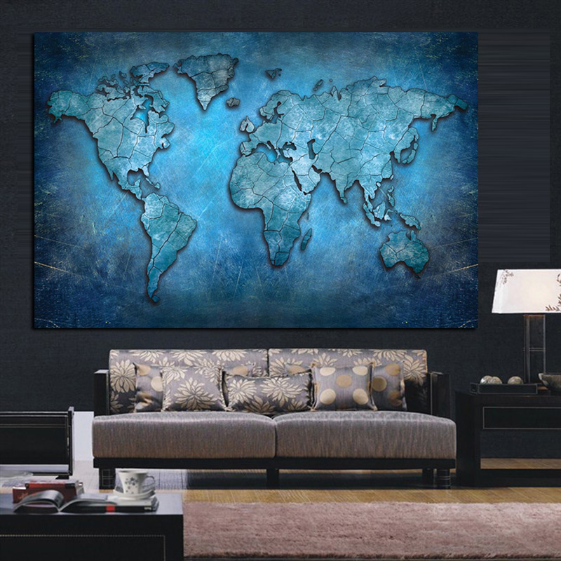 Big size abstract 3d world map canvas painting modern globe map big size abstract 3d world map canvas painting modern globe map print on canvas for office room picture wall art cuadros decor in painting calligraphy gumiabroncs Choice Image