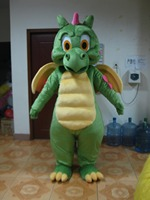 Hot sale 2014 Adult cartoon character cute green dragon Mascot Costume Halloween party costumes