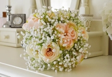 New Beautiful Pink Wedding Bouquet Babys breath artificial silk flower  Plant Home Decoration decorative flowers