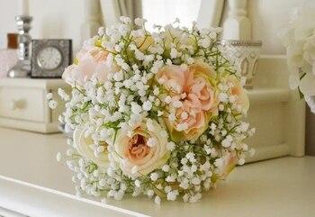 New Beautiful Pink Wedding Bouquet Babys breath artificial silk flower  Plant Home Decoration decorative flowers