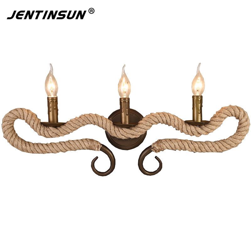 European Nordic Style Industrial Retro Hemp Rope Wall Lamp Vintage Metal Mounted LED Wall Lights Sconce for Restaurant Bar Aisle the ivory white european super suction wall mounted gate unique smoke door