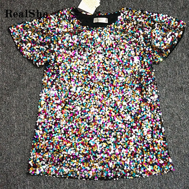 RealShe 2018 Women Summer   T     shirts   Women O Neck Short Sleeve Sequins   T  -  shirt   Ladies Fashion Casual Loose New Tops Tee   Shirt