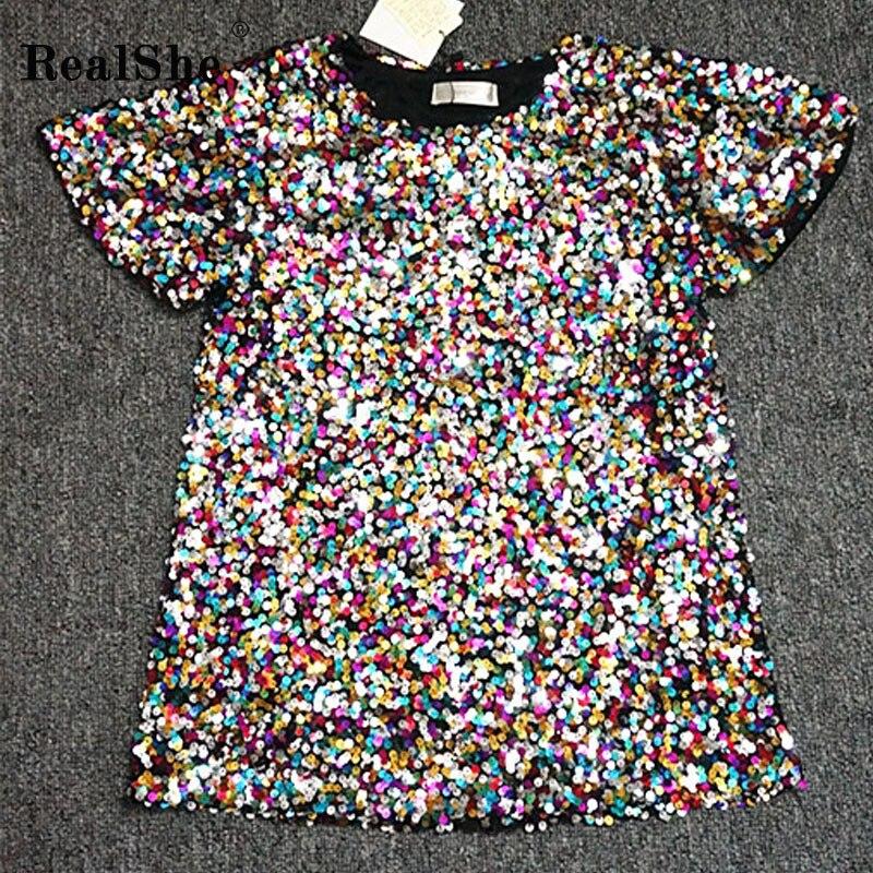 e1f4c5535 RealShe Nobre Elegante camiseta Mulheres Lantejoulas T-shirt Das Mulheres  de Moda de Nova Top Camiseta Femmer Mulher Roupas de Frio