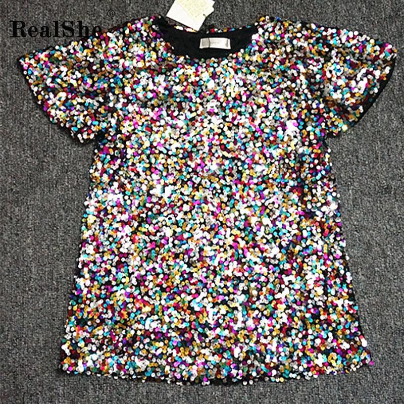 RealShe T Shirt Women 2019 O-Neck Short Sleeve Sequins Ladies Tshirts Summer Casual Elegant T-shirt Femme Women Tshirt Cotton