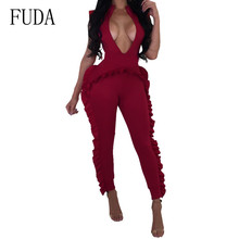 FUDA Plus Size XXL Elegant Ruffle Jumpsuits Can Be Worn Back and Forth Sexy Playsuits Summer Bodycon Casual Party Club Bodysuits