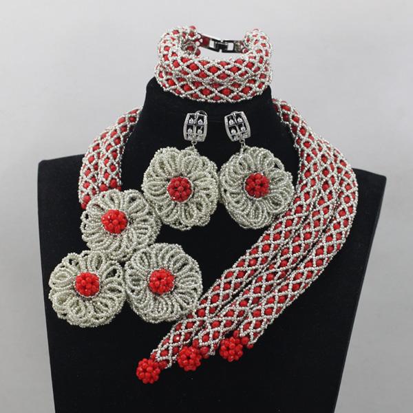 Charming Red Nigeiran Crystal Women Beads Indian African Jewelry Set Sliver Flower Necklace Earrings Set for Brides Gifts QW570Charming Red Nigeiran Crystal Women Beads Indian African Jewelry Set Sliver Flower Necklace Earrings Set for Brides Gifts QW570