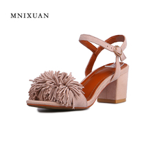 7e509cd9cfc338 Genuine leather sandals women 2017 summer chunky heels high quality open  toe outdoors female office shoes