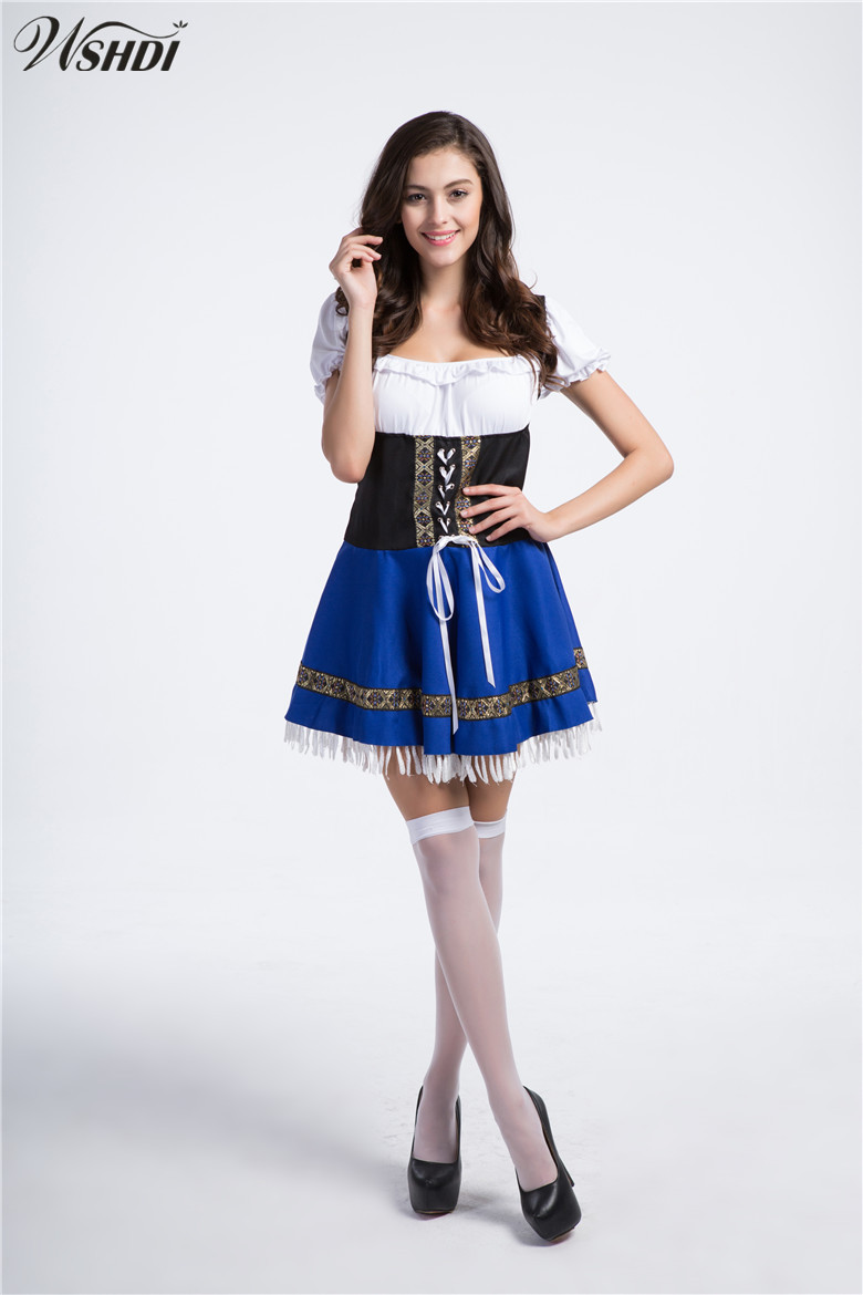 Women Adult Halloween Costumes Cosplay Maid Uniforms Oktoberfest Dirndl Maiden costume Sexy Blue Beer Girl Wench Fancy Dress