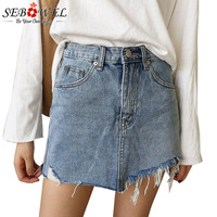 SEBOWEL 2018 Jeans Skirt Women High Waist Jupe Irregular Edges Denim Skirts Female Mini Saia Washed