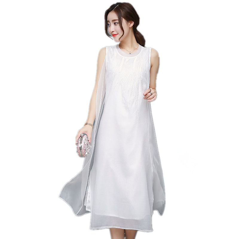 US $18.72 52% OFF|Fashion Women Summer Silk Dress Sleeveless Plus Size  Dresses white black embroidered Loose Casual Long Dress vestidos 5XL-in  Dresses ...