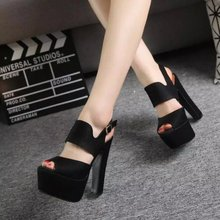 Summer new sexy nightclub ultra high heels rough with Roman style fish head waterproof sandals female 14cm