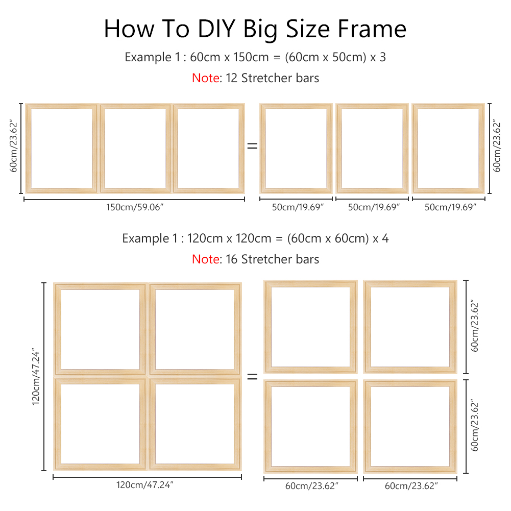 2Pcs 20 60cm DIY Canvas Wooden Frame Wood Strip Stretcher Bar Home Office Gallery Wall Art A Canvas Frame System Needs 4pcs in Frame from Home Garden