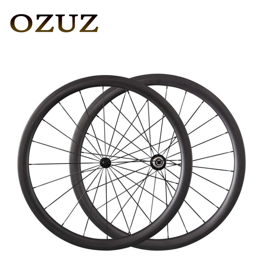 OZUZ 38mm Depth Carbon Wheels Full Carbon Road Bike Bicycle Clincher with Powerway R13 494 spokes Bike Wheels Durable Wheelset carbon wheels tubular clincher powerway r13 hub wheels 38mm 50mm 60mm 88mm road carbon bicycle wheels cheapest sale