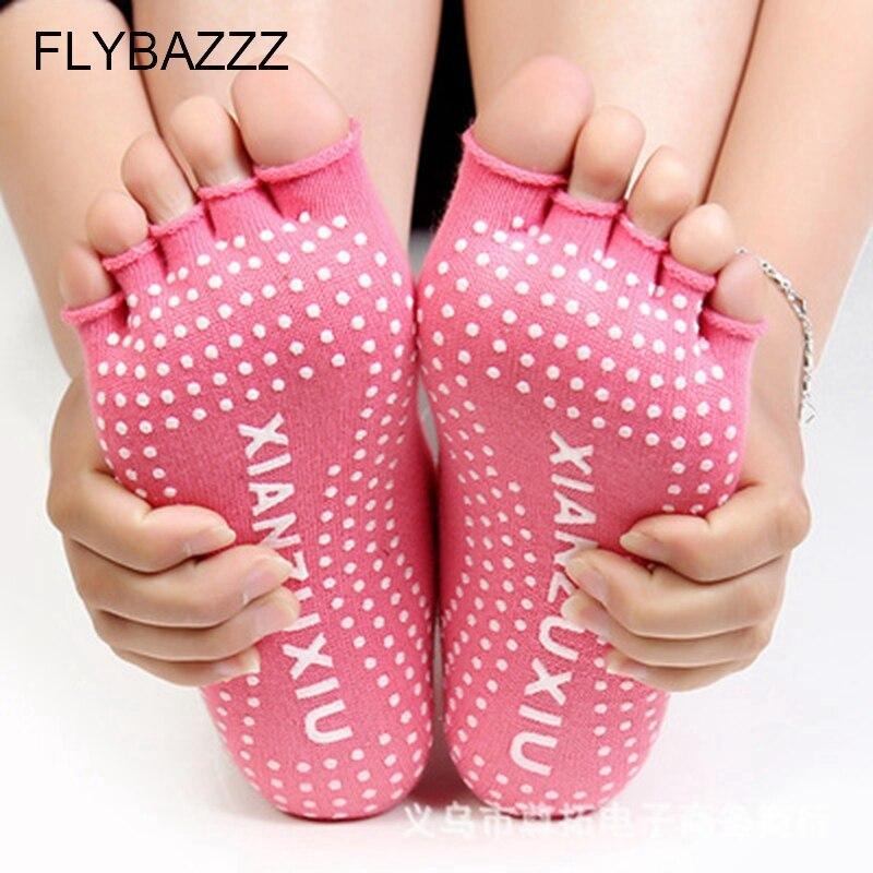 New Half Toe Yoga Socks Women Non Slip Peep Toe Anti Slip Pilates Ankle Grip Durable Open Half Five Fingers Cotton Yoga Socks in Yoga Socks from Sports Entertainment