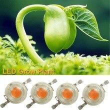 100ピース/ロットbridgeluxの高電力1ワット3ワットのフルスペクトラムledビーズチップを育てる主導400nm-840nm植物成長ライトランプ電球部分