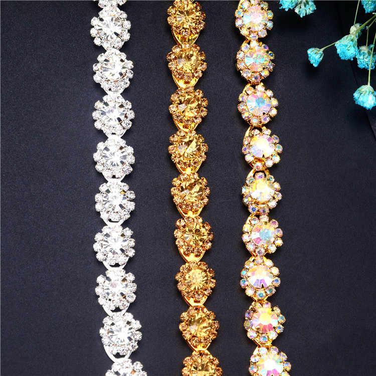 XINMILLIE 1 ярд 12 мм Серебряный Кристалл Круглый AB Цветок горный хрусталь цепь золотые волосы платье украшение воротник одежды аксессуары для шитья