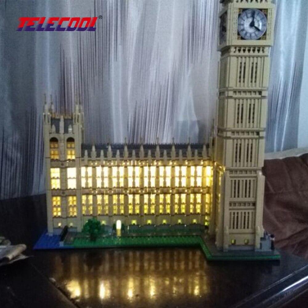 TELECOOL Светодиодные строительные блоки Игрушка (только световой набор) Для City Creator Биг Бен Модель 10253 Для детей Рождественский подарок