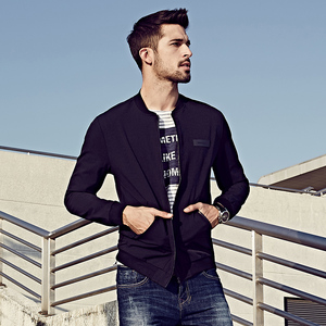 Image 3 - KUEGOU New Spring Mens Casual Jackets And Coats Thin Black Color Brand Clothing For Mans Slim Fit Clothes Male Wear Tops 2067