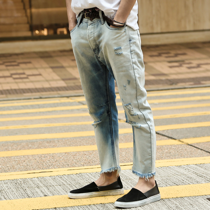 Washed jeans men brand regular vintage men's ripped hole jeans English style fashion mens jeans pants casual denim trousers