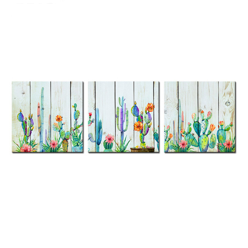 Plant Cactus Wood Grain Flower Mosaic Full Square Round Diamond Embroidery 3pcs 5d Diamond Paintings By Numberzp-1458 Bright Luster Home