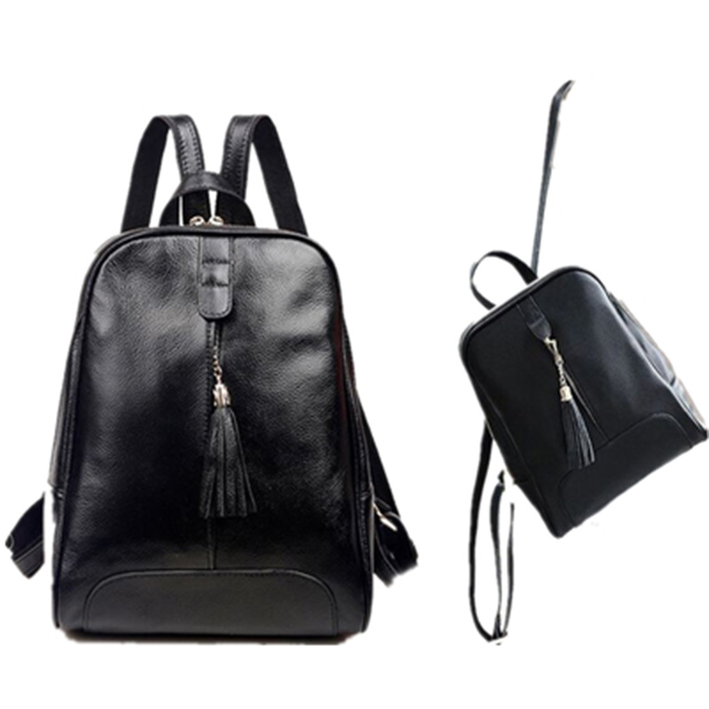 Female Genuine Leather Backpacks School Bag for Teenage Girls Fashion Tassel Shoulder Bag Women Solid Color Travel Backpack Bag fashion gold leather backpack women black vintage large bag for female teenage girls school bag solid backpacks mochila xa56h