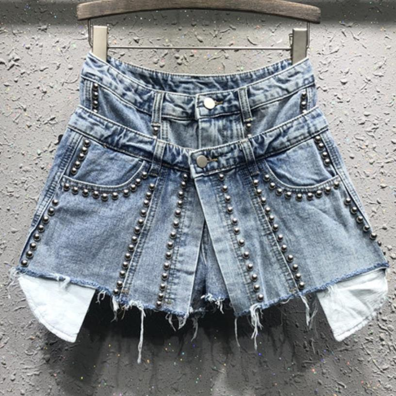 2019 spring and summer new personality fake two pieces jeans   shorts   women beaded high waist denim   short   skirt
