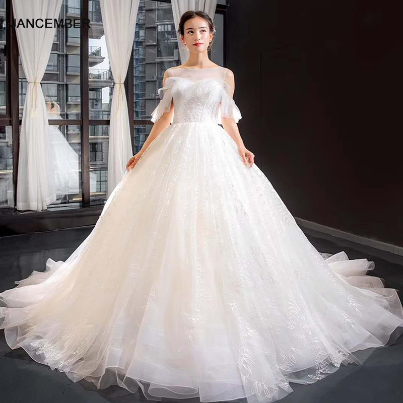 J66847 Jancember Ball Grown Wedding Dresses 2019 O-neck Off The Shoulder Wedding Boho Dresses For Summer Vesrido De Noiva Sereia