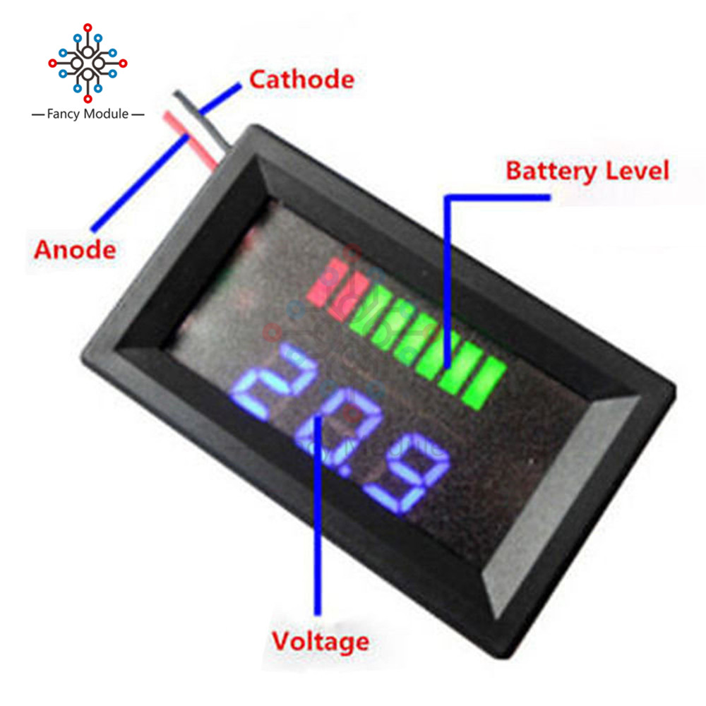 12v 24v 36v 48v Blue Led Lead Acid Battery Indicator Level Capacity Tester Voltmeter Charge