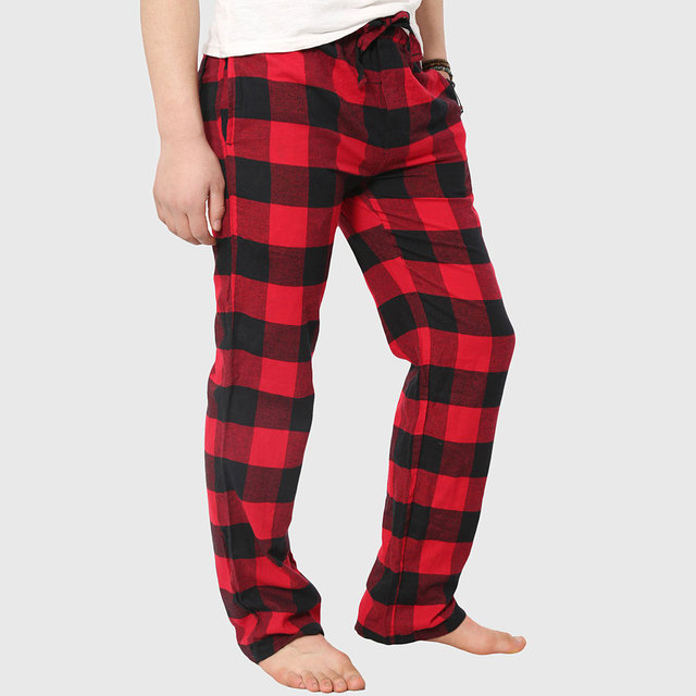 f051bcda61cd Men Red Plaid Pants Cotton Flannel Trousers Loose Fit Bottoms Sweatpants  Military Pattern Hip Hop Stylish