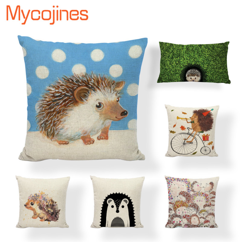 Hedgehog Throw Pillows Case Candy Colors Geometric Flowers