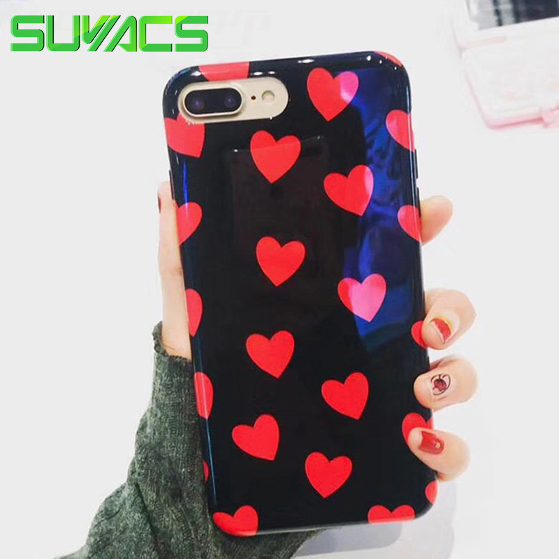 SUYACS For iPhone 6 6S 7 8 Plus Phone Case Glossy Red Hearts Soft IMD Black Cover Cases With Soft Heart Front Screen Protector