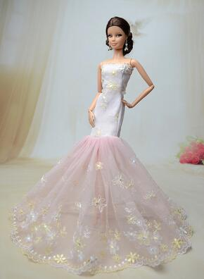 Genuine case for Barbie clothes Tail Skirt Dress Up Variety of Barbie Doll wedding dress princess Fashion Tail Dress