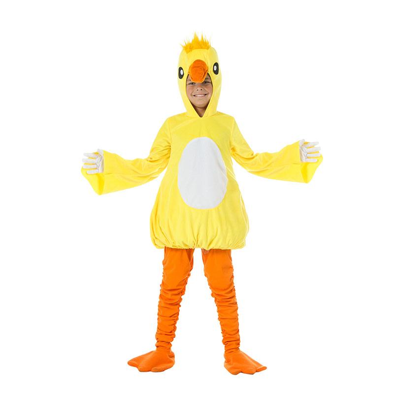 Enfant petit canard jaune hiver Halloween Cosplay Costumes Adorable et douillet tenue hiver chaud polaire habiller des vêtements d'animaux