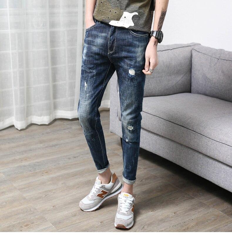 KSTUN Men Jeans Summer Thin Skinny Jeans For Men Ripped Broken Man Biker Stretch Slim Leg Jogger