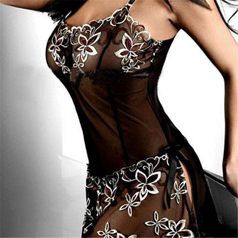 Womens Sexy Embroidery See-through Underwear Mesh Sleepwear