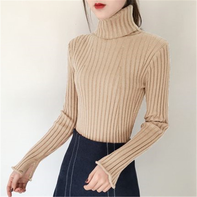 2018 Women s Fashion White Black Grey Cashmere Sweater Women Long Sleeve  Autumn Winter Warm Turtleneck Pullover 4e3c81a82