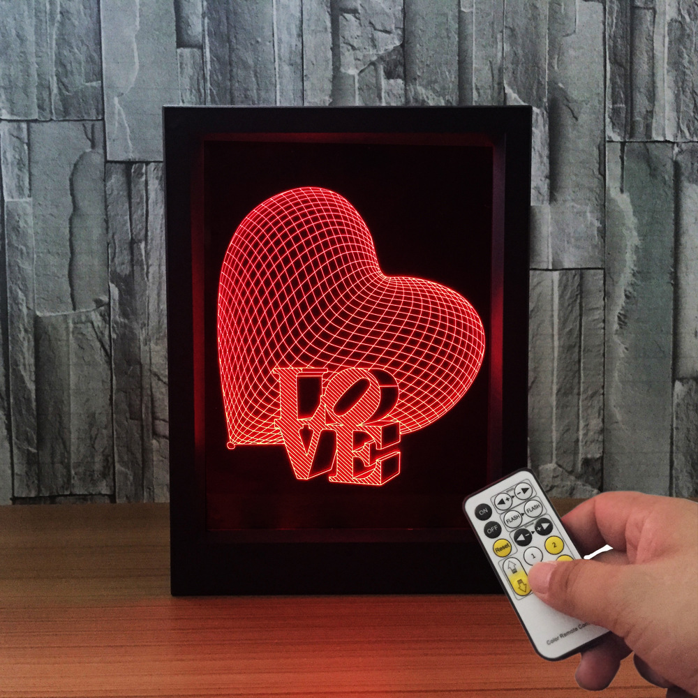 Love Heart 3D Photo Frame Lamp Remote Control 7 Colors Change USB LED Night Light LED Desk Lamp Wedding Mood Lava Lamp