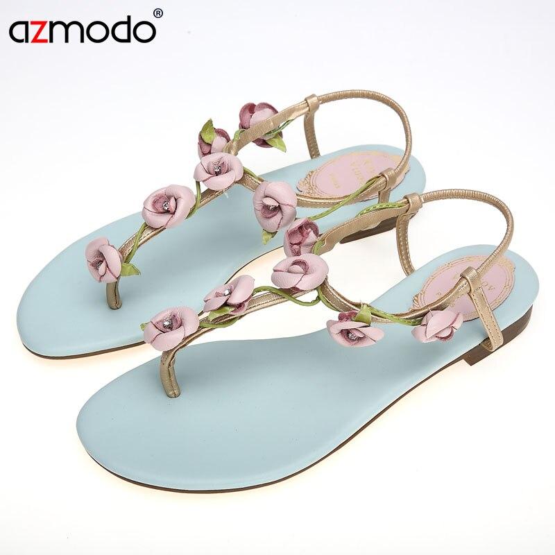 Mode 2018 Talon bleu Sandales Classique Strass Confort rivet Blue Fleur Mujer Zapatos D'été Femmes Flip Chaussures Feuilles flop Plat q70qUwgr